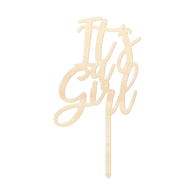 It's a Girl - Caketopper Hout Wood