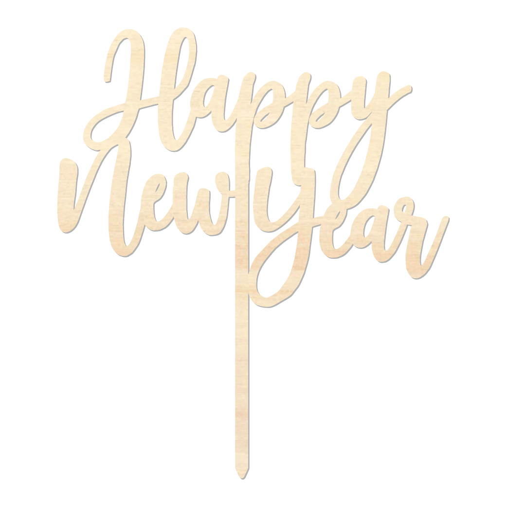 Happy New Year - Caketopper Hout Wood