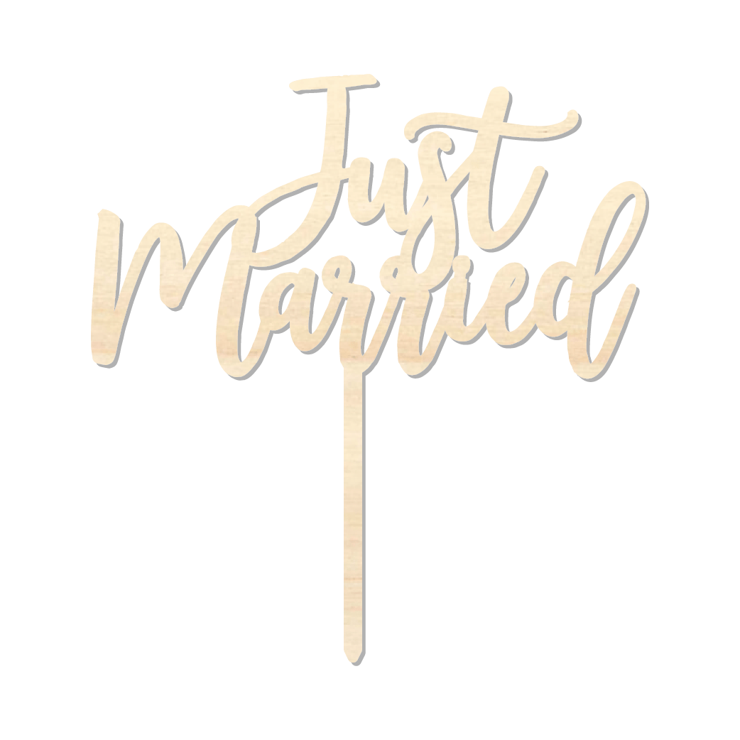 Just Married - Caketopper Hout Wood_Tekengebied 1