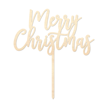 Merry Christmas - Caketopper Hout Wood