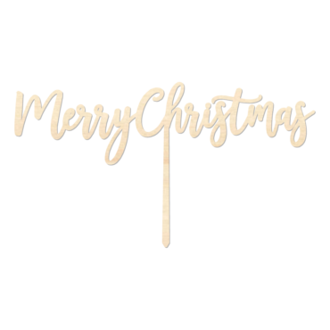 Merry Christmas2 - Caketopper Hout Wood