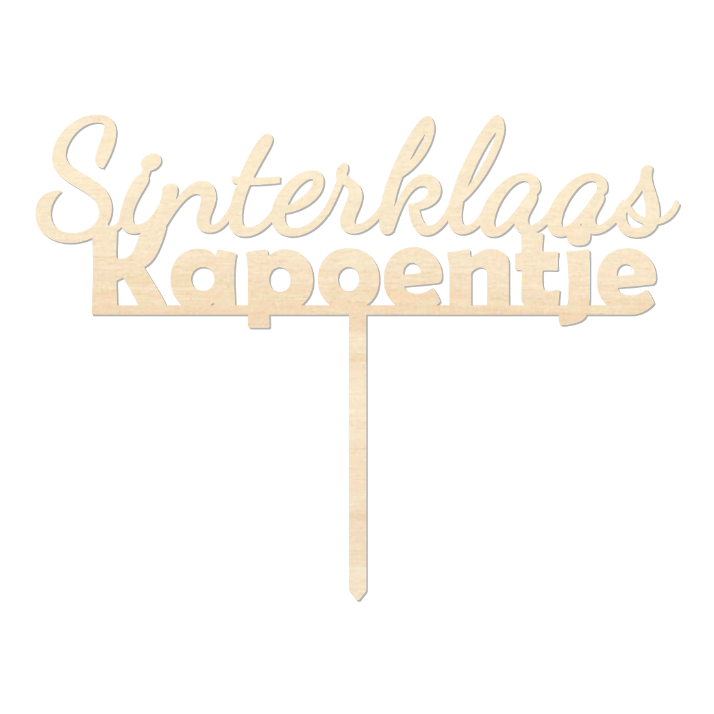 Sinterklaas Kapoentje - Caketopper Hout Wood