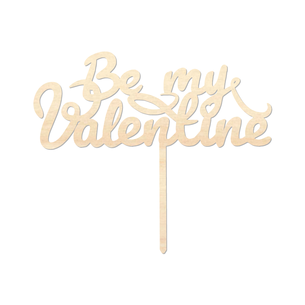 Be my Valentine 2 - Caketopper Hout Wood