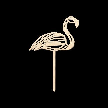 Houten caketopper Flamingo